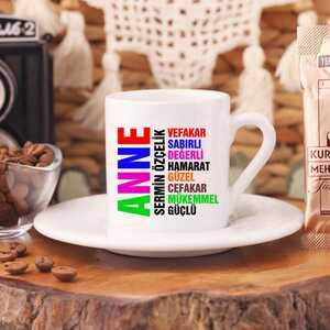 Anne Yazılı İsimli Türk Kahvesi Fincanı - Thumbnail