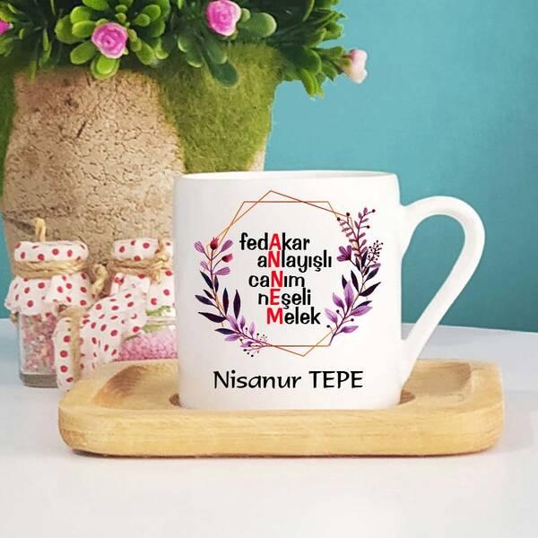Anneye Özel İsimli Türk Kahvesi Fincanı