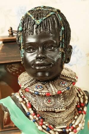 Dekoratif Afrikalı Kadın Biblo