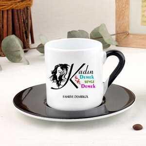 Kadın Temalı İsme Özel Türk Kahvesi Fincanı - Thumbnail