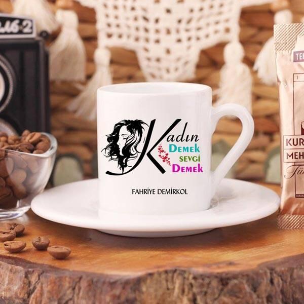 Kadın Temalı İsme Özel Türk Kahvesi Fincanı