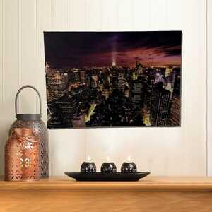 - New York Şehri Gece Görünümlü Kanvas Tablosu 50cmx70cm