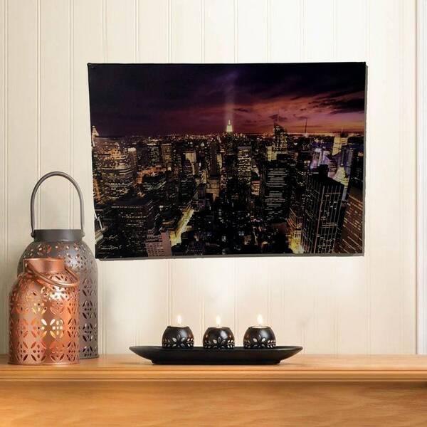 New York Şehri Gece Görünümlü Kanvas Tablosu 50cmx70cm