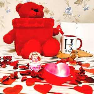Sevgiliye Peluş Ayıcıklı Hediye Kutusu - Thumbnail