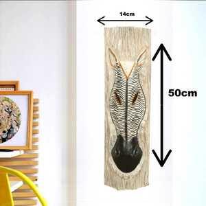 Zebra Çizgi Desenli Dekoratif Ağaç Oymalı Maske - Thumbnail
