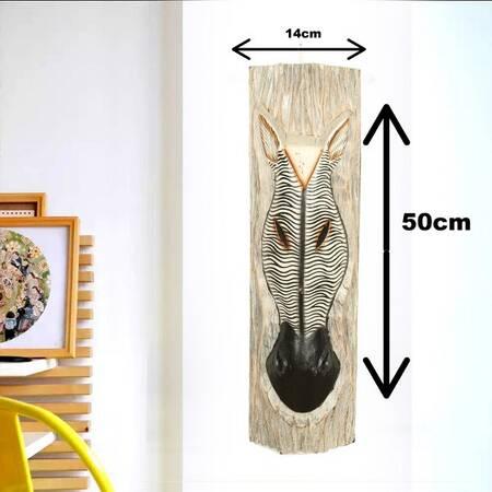 Zebra Çizgi Desenli Dekoratif Ağaç Oymalı Maske