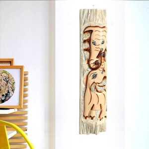 - Fil Desenli Dekoratif Ağaç Oymalı Maske