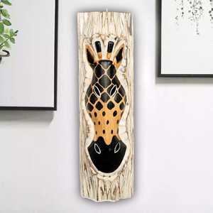- Zebra Desenli Dekoratif Ağaç Oymalı Maske