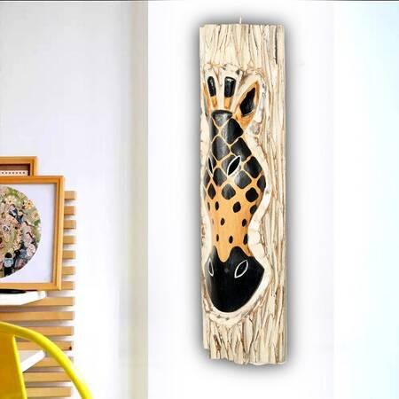 Zebra Desenli Dekoratif Ağaç Oymalı Maske