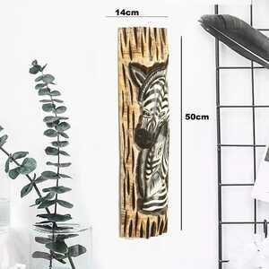 - Zebra Görünümlü Dekoratif Ağaç Oymalı Maske