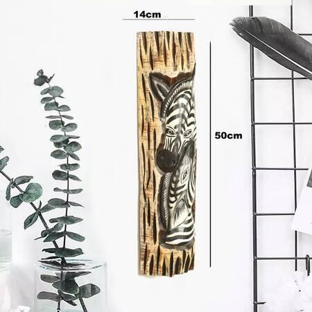 Zebra Görünümlü Dekoratif Ağaç Oymalı Maske