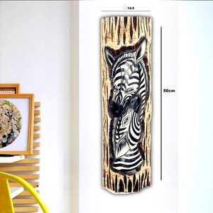 Zebra Görünümlü Dekoratif Ağaç Oymalı Maske - Thumbnail